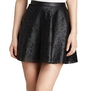 GUESS Faux Leather Laser Cut Skater Skirt